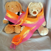 Cotton Yarn Crochet Scarf Orange Yellow and Pink Stripes