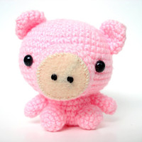 Pink Amigurumi Farm Pig- O.N.L. (Made to order)