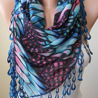Blue and Pink -  Silk - Chiffon Scarf with Blue Trim Edge