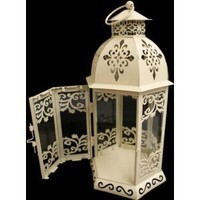 New 28cm Shabby Chic Cream Metal Candle Lantern: Amazon.co.uk: Kitchen &amp; Home
