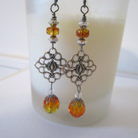 Diamond Shaped Filigree Earrings - Orange Czech Glass by 636designs