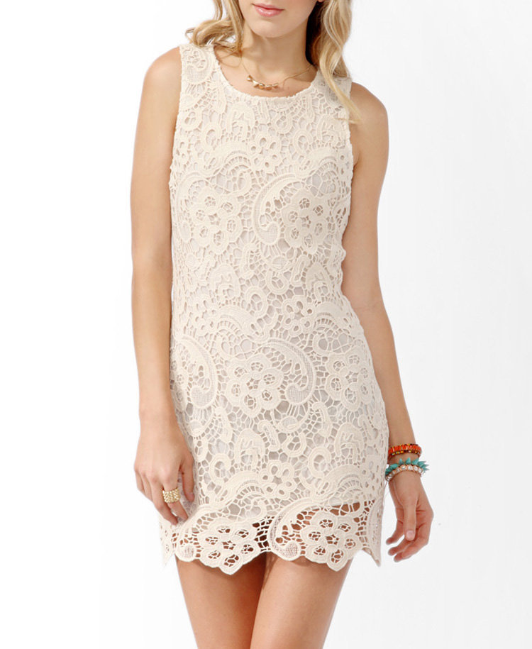 Crochet Overlay Shift Dress