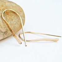 14K Gold Filled Hammered Drop Earrings, 18 Gauge, Hand Forged