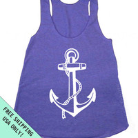 ANCHOR Racerback Tank Nautical Sailor Tri-Blend Womens American Apparel S, M, L more colors