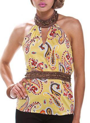 Yellow Paisley Jeweled Halter Top