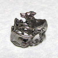 Silver Fox and Rabbit Ring