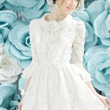 Autumn Embroidery Lace Dress