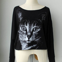 The cat   Pullover Sweater  Animal Print Bat Style Half Body In black
