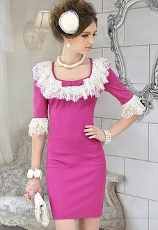 Lace Half Sleeve Dress(Rose Pink)