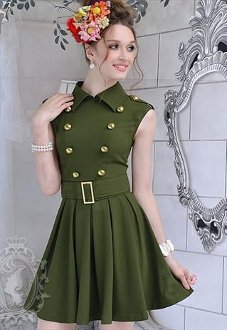 Army Green Double-breasted Dress