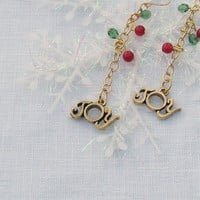 Beaded JOY pierced earrings in silver or gold -- show your holiday spirit
