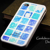 Blue grunge with squares hard cover case for iPhone 4 and iPhone 4S
