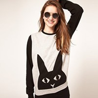 ASOS Sweatshirt with Bunny Applique at asos.com