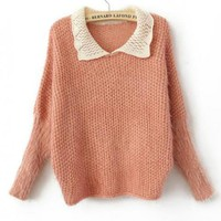 Sweet  Long Sleeve Pink Sweater$42.00
