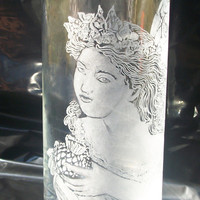 Hand Engraved Glass Fairy Vase on Luulla