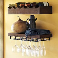 Rustic Wood Entertaining Shelves | Pottery Barn