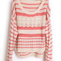 Hollow out Pretty Striped Red Sweater$43.00