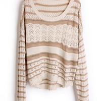 Hollow out  Pretty Striped Brown Sweater$43.00