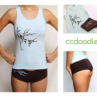 Tank Top and Boy Shorts Matching Sleep Set Light Blue and Brown - Size Small Only - Love Birds Design cc001
