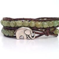 Elephant Wrap Bracelet, Good Luck Charm, Green Garnet Gemstones, Chan Luu Style