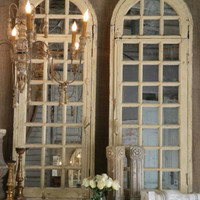 SOLD Antique Pr of Old Arched Architectural Mirrors - $1800/pair - The Bella Cottage