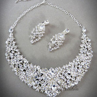 Gorgeous Bridal Rhinestones Crystal Necklace and Earrings Wedding Jewelry Set | eBay