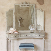 Antique Vanity in Cream with Beveled Mirror c. 1940s - $1645 - The Bella Cottage