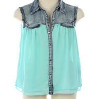 Denim Blouse in Aqua - Bliss Salon and Boutique - A responsive Shopify theme