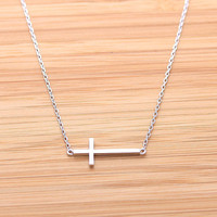 SIDEWAYS CROSS necklace, in silver