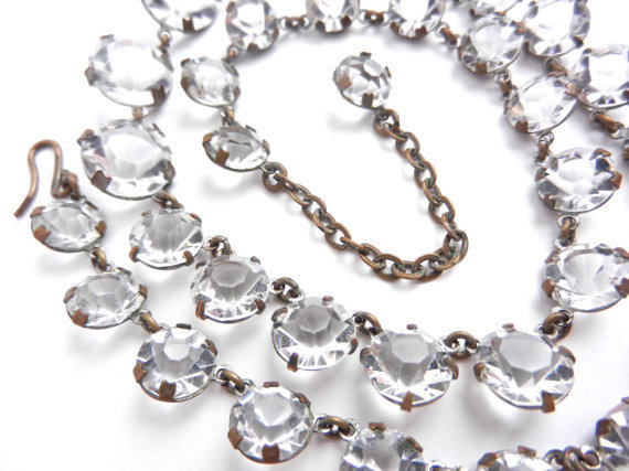 Antique art deco necklace clear czech from maejean vintage for Art deco costume jewelry