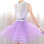 Purple petal collar sleeveless lace shirt tailor Anza pettiskirt_Dinner dresses_Dinner Dresses_Mili fashion Trade Co.Ltd