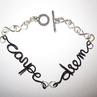 Carpe Diem Bracelet Black Copper Wire Silver Plated Infinity