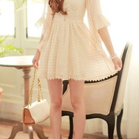 V-Neck Polka Dot Print Chiffon Dress - Oasap High Street Fashion
