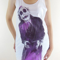 Joker Shirt -- Heath Ledger Batman The Dark Knight Movie Shirt Joker T-Shirt Women Tunic Vest Tank Top Sleeveless Singlet White Shirt Size M