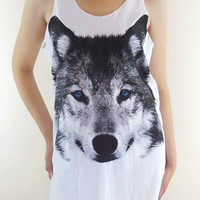 Wolf Shirt Fox Shirt -- Wolf Blue Eyes Face Animal T-Shirt White T-Shirt Women T-Shirt Tank Top Tunic Fox T-Shirt Wolf  T-Shirt Size M