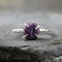 Uncut Raw Rough Violet Purple Sapphire Ring - Sterling Silver Solitaire  -  Artisan Jewellery - Handmade and Designed by A Second Time