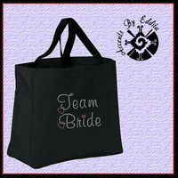 Girly Team Bride Sturdy Rhinestone Tote Bag holds water bottle (your choice of colors) with Pink Dangling Heart Wedding Chic