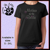 Rhinestone Mother of the Bride with Dangling Heart T Shirt or Tank in Sizes S - 3XL perfect for Bridal Mom Gift