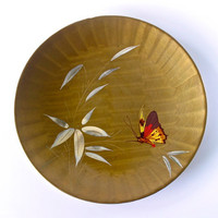 Vintage Japan Platter Butterfly and Bamboo Lacquerware Serving Bowl