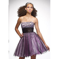 A-line Short/Mini Princess Satin and Tulle with Shiny Beading Cocktail Dress [TWL120203006] - $73.99 :