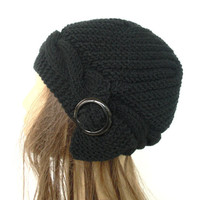 Hand Knit Hat   Cloche Hat  in Black  with black  buckle  Womens cable knit   Hat  Spring  Fall Autumn  Winter Accessories Fashion