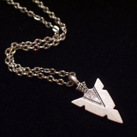 Antiqued Silver Arrow Head Tribal Pendant Necklace Hunger Games