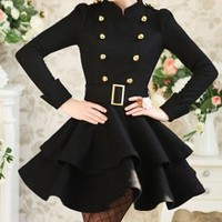 Hot sell black double golden buckle lady dress_Long dresses_Dinner Dresses_Mili fashion Trade Co.Ltd