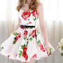 Red flower on white printing your waist and big huge earthenware sleeveless dress_Dinner dresses_Dinner Dresses_Mili fashion Trade Co.Ltd