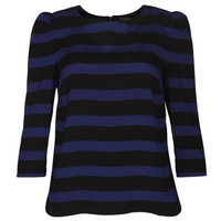 Black Strisp Puff Sleeves Blue Top [NRSH0195] - $40.99 :