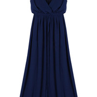 V-neck Dark Blue Dress [NCSKU0107] - $67.99 :