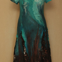 The Turquoise Falls / Nuno-Felted Clothing / Dress