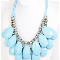 Turquoise Teardrop Bib Statement Necklace