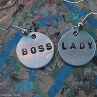 Boss Lady HandStamped Earrings by ManoyMetal on Etsy