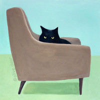 Cat on mid century chair  pigment print by olivedear on Etsy